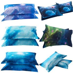 2x-Galaxy-Pillowcases-Star-Planet-Nebula-Pillow-Case-Kids-Boys-Bedroom-Bedding