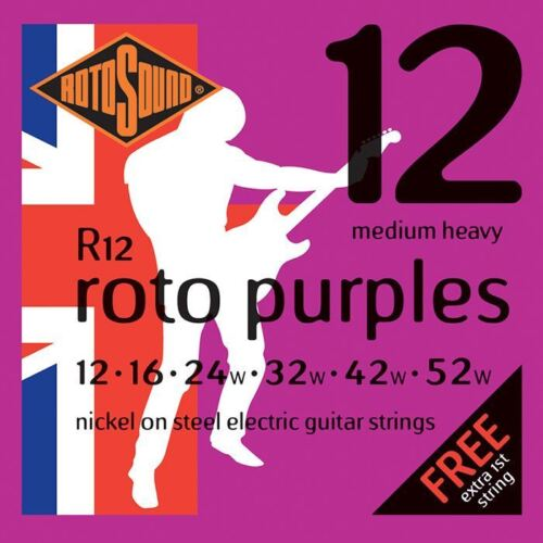 Rotosound R12 Roto Purples Electric Guitar Strings Gauge 12-52 Made in the UK