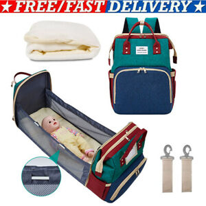Foldable-Diaper-Bag-amp-Baby-Crib-Backpack-Nappy-Mummy-Bags-for-Mom-Dad