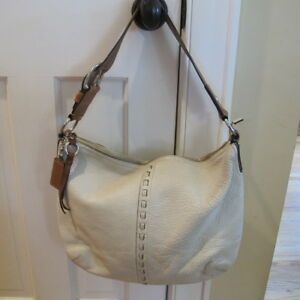 Coach Cream pebbled leather hobo shoulder bag with Tan leather strap ... d5437985de2cb