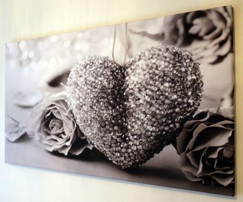 Blanc et Noir Coeur Toile Imprimer Wall Art Photo 18 x 32 in Gris environ 81.28 cm
