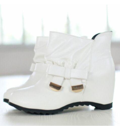 Nouveau Haut Chaussures De Loisirs en Cuir Synthétique Hidde Wedge Talons Bottines à Enfiler Taille