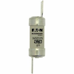 Bussman NSD25 Etiqueta de hoja 25A 550VAC BS88 F1 Fusible estándar británico