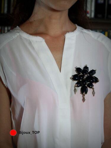 Broche Gros Fleur Noir Feuille Metallique Vintage Style Doré XZ 4