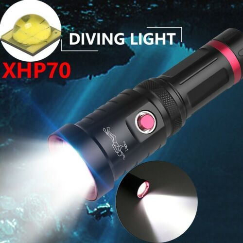 200000LM XHP70 LED Flashlight IPX8 Waterproof 25 Meter Diving Torch 18650//26650