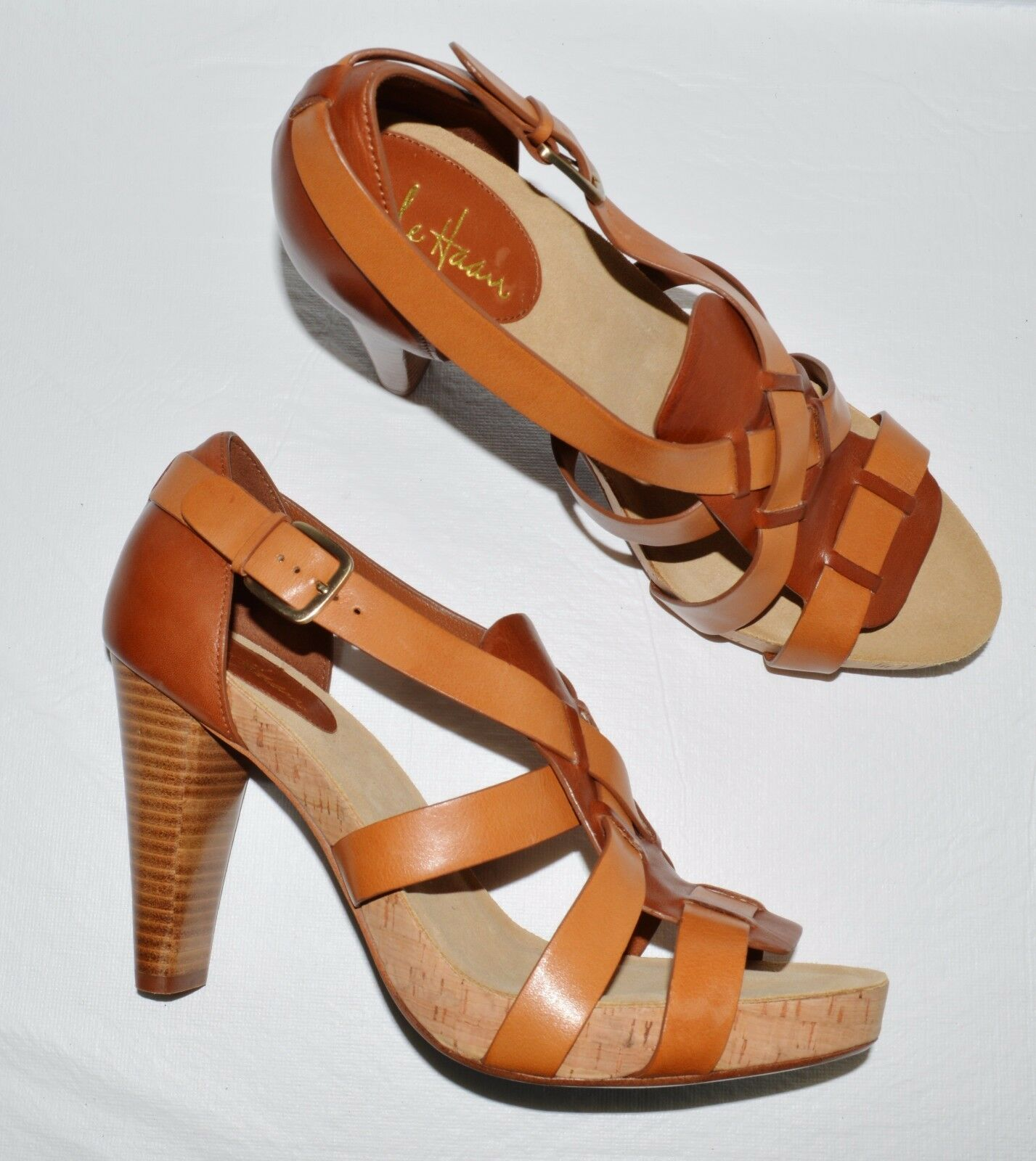 COLE HAAN  AIR NEW BROWN SIZE 9.5 B BROWN NEW LEATHER PLATFORM SANDALS 65e756
