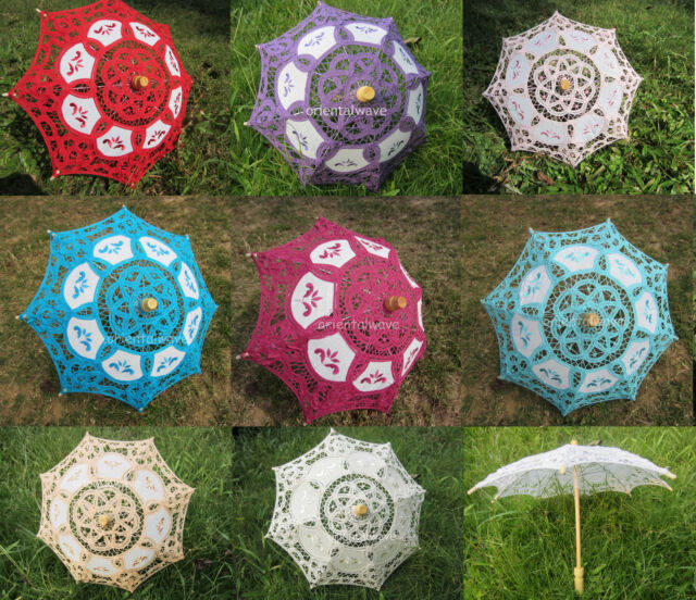 "Handmade Multicolor Mini Cotton Lace Parasol Umbrella Wedding Party Decor 15"""