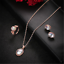 Chic-Luxury-Women-Rose-Gold-Crystal-Necklace-Ring-Earring-Jewelry-Gift-Sets-HOT miniatura 4