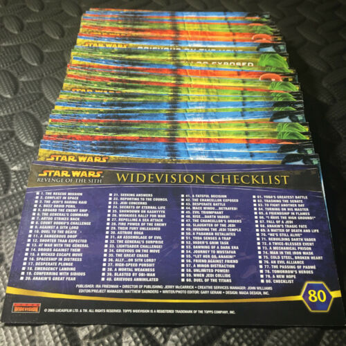 2005 TOPPS STAR WARS REVENGE OF THE SITH WIDEVISION COMPLETE SET OF 1-80 CARDS!