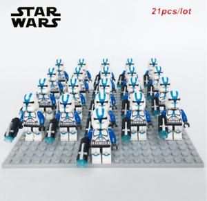 21 pcs Star wars Trooper Clone Blue Minifigures Soldier Lego MOC