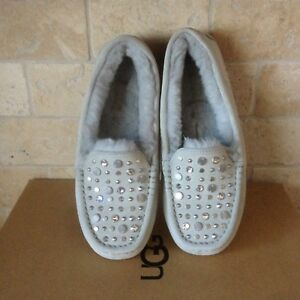 dc60f049727 Details about UGG Ansley Deco Studded Bling Grey Violet Suede Moccasins  Slippers Size 5 Womens