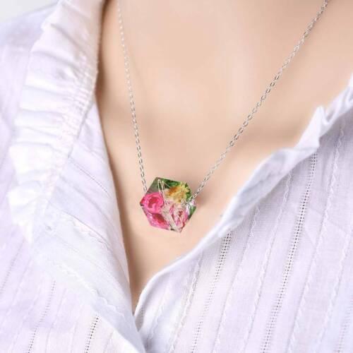 Fashion Square cube résine séché Fleur Collier Pendentif Fleurs Collier Bijoux
