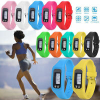 Digital Lcd Pedometer Wrist Step Run Walking Distance Calorie Counter Bracelet