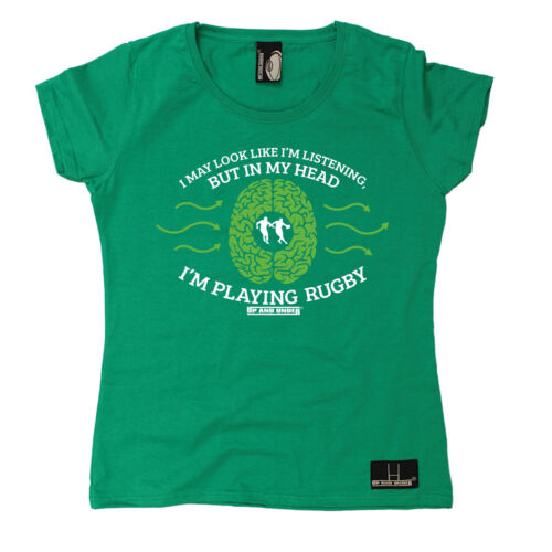 In My Head Im Playing Rugby WOMENS T-SHIRT Beer Union Maul Funny birthday gift