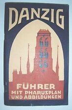 Danzig Führer mit Pharus Plan & Abbildungen Stadtplan Gdansk polska um 1930 !
