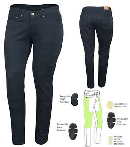 AUSTRALIAN-BIKERS-GEAR-Ladies-Jeans-M-039-cycle-lined-with-DuPont-Kevlar-CE-armour
