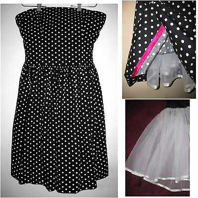 Strapless dress 12 Polka dot Cotton Petticoat 50s Black White Full Retro 46 L