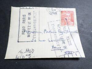 FRANCE CACHET 1949, SEUL sur LETTRE timbre 812, GANDON, oblitéré VF COVER