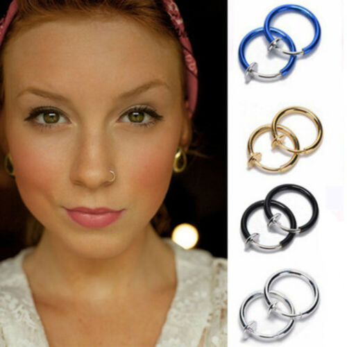 Clip on Non Piercing Goth Punk Style Lip Ring Ear Clip Nose Ring Nostril Hoop