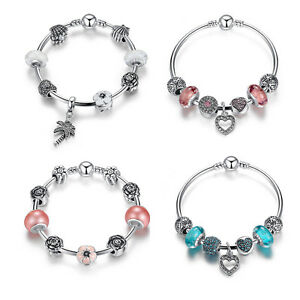 Authentic-925-Sterling-Silver-Bracelet-Love-Heart-Charm-Bead-fit-European-Bangle