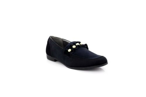 Ladies Truffle Collection Black Velvet Pearl Embellished Loafers