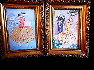 Pair-Vintage-Framed-Flamenco-Postcards-Silk-Embroidery-Costumes-Spain-Signed