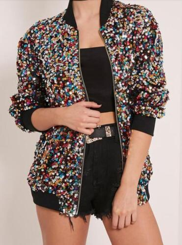 Women Glitter Jacket Long Sleeve Coat Colorful Sequins Short Leisure Slim Loose#