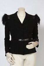 PRADA Black Fox Fur Accented Shoulder Jacket Sz IT 44 US 8 *MINT* $2,750