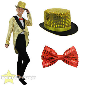 0b2a2f8c55a7a GOLD SEQUIN TAILCOAT TOP HAT AND RED BOW TIE UNISEX FANCY DRESS ...