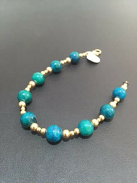 Natural bluee Green Eilat Stone Round Beaded gold Filled Bracelet Israel Handwork