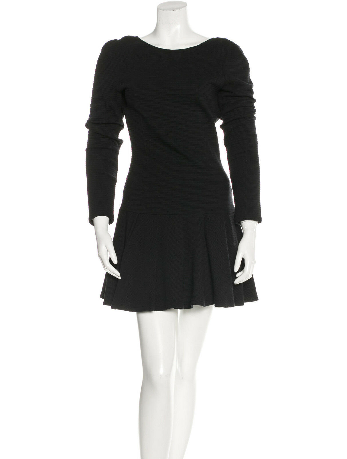 KENZO PARIS schwarz Cotton Long Sleeve Mini Dress Low Back Sz Large Never Worn EUC