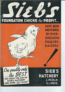 MB-109 - 1942 Sieb's Foundation Chicks for Profit Catalog, Chickens, Illustrated