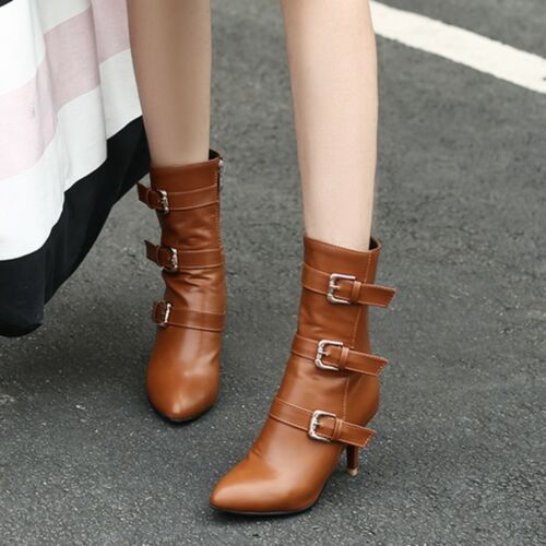 Women Mid-Calf Boots Retro Zipper Point Toe Kitten Med Heel Winter Booties Shoes