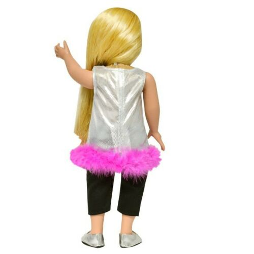 """Doll Clothes Fit 18/"""" Dress Silver Pink Feathers Pants Capri Black Fits AG Dolls"""