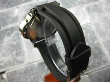 22mm HQ Soft PU Rubber Diver Strap Black Tang Watch Band OMEGA X1 22 mm
