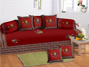 Details about 100 % Cotton Red Sofa Diwan Set Diwan Cover Cushion Covers  Bolster Covers