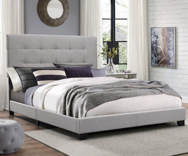 Elegant Dark Grey Complete Bed Frame Full Twin Queen King Size Bedroom Furniture
