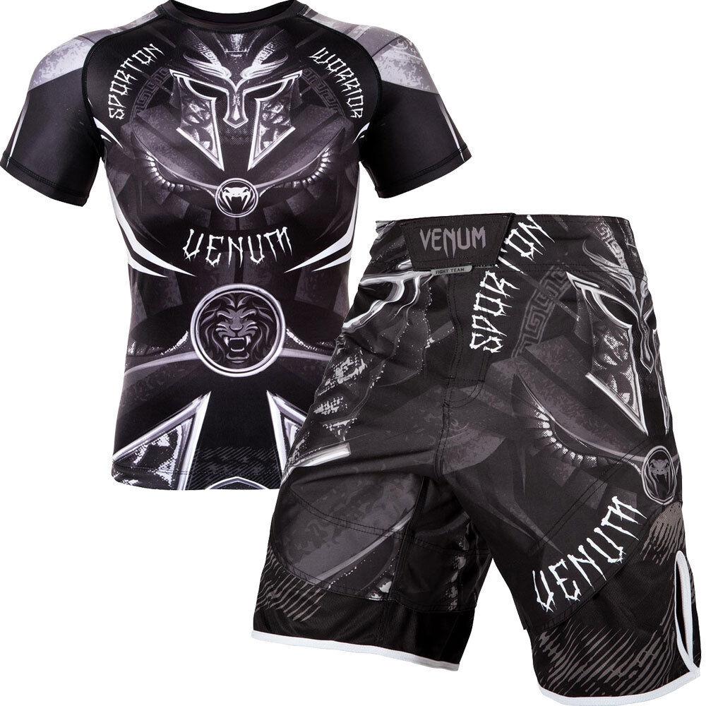 Venum Bundle Gladiator Gladiator Gladiator 3.0 Kurzarm Rashguard, Fight Shorts Schwarz MMA Muay Thai 9447e5