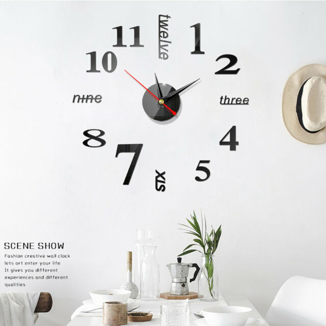 Modern DIY Large Wall Clock 3D Mirror Surface Sticker Home Office Room Decor DIY