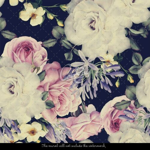 Baroque Flowers Removable Wallpaper Watercolor Peel and stick Dark Floral mural