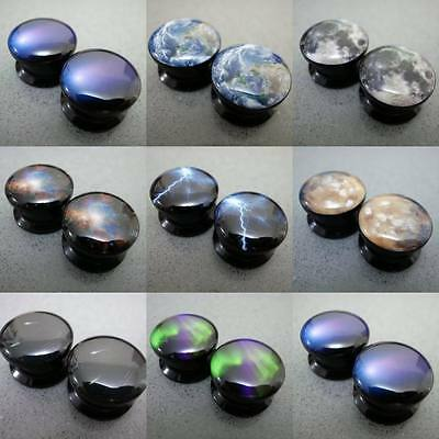 Multiple 6mm-22mm Galaxy Space Natural Phenomena Acrylic Flesh Tunnels Ear Plugs