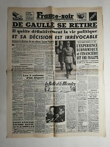 N370-La-Une-Du-Journal-France-soir-22-janvier-1946-De-Gaulle-se-retire