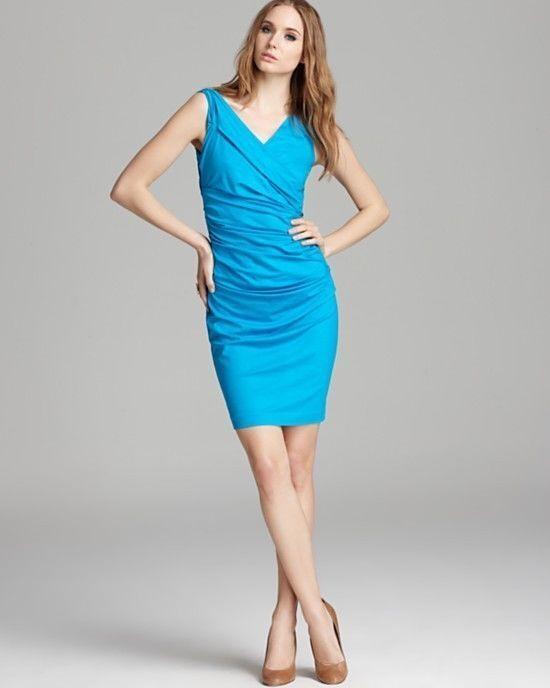 Diane Von Furstenberg BENTLEY SLEEVELESS RUCHED JERSEY Blau MACA DRESS sz L