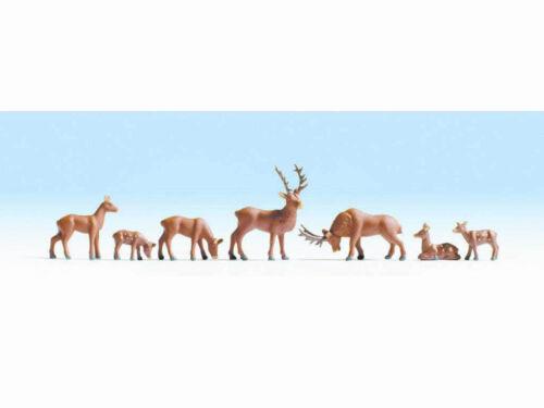 Encore 15730 cerfs Hirsch Wild cervidés Cerf Chevreuils 7 personnages h0 NEUF