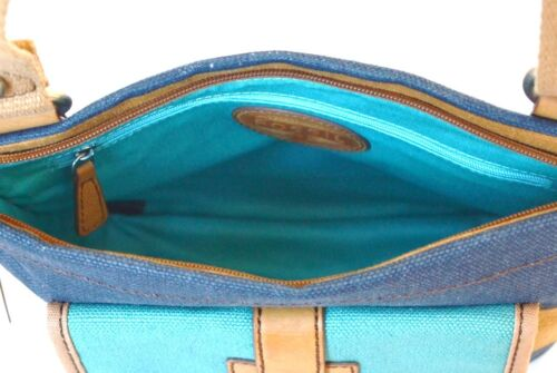 Tracolla Borsetta Blu Tasca Top Marrone zip Nuovo A Banda Tela Shay Fossil wSW4Pnqx7v
