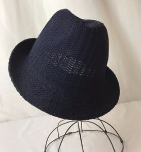 Vtg Style Fedora Hat Mens Womens Small Med Woven Fabric Pack-able ... e1791c06f8e