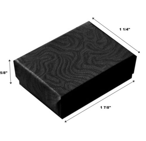 200 Small Swirl Black Cotton Fill Jewelry Display Gift Boxes 1 7//8 x 1 1//4 x 5//8