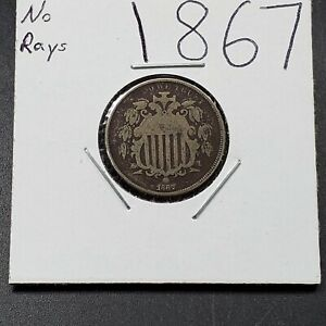 1867 Shield Nickel Five Cents Coin Fine Details toning