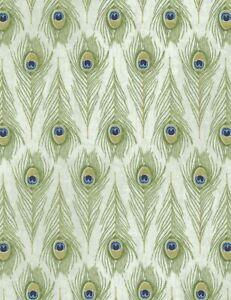 Plume Fabric - Veronique Charron Peacock Feather Cream - Timeless Treasures YARD