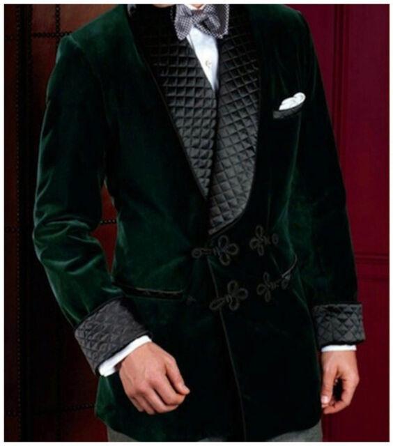 d717e9c61e10 Men Elegant Luxury Stylish Designer Green Smoking Jacket Party Wear Blazers